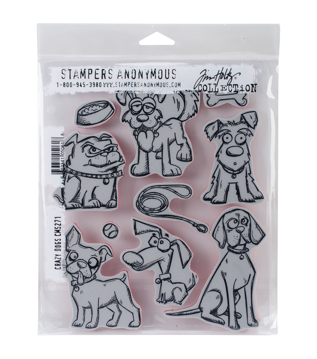 Stampers Anonymous Tim Holtz Cling Mount Stamps-Crazy Dogs