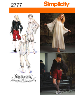 Simplicity Pattern 2777 Misses\u0027 Costumes, Sizes 16-18-20-22