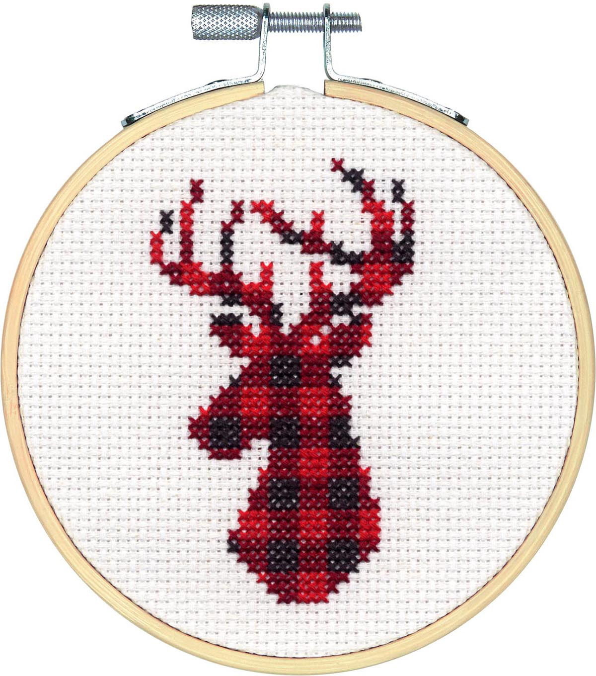 Dimensions Counted Cross Stitch Kit-Plaid Deer Small