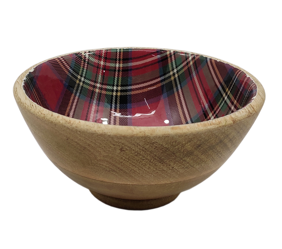 Handmade Holiday Christmas Small Wooden Nappy Bowl-Plaid