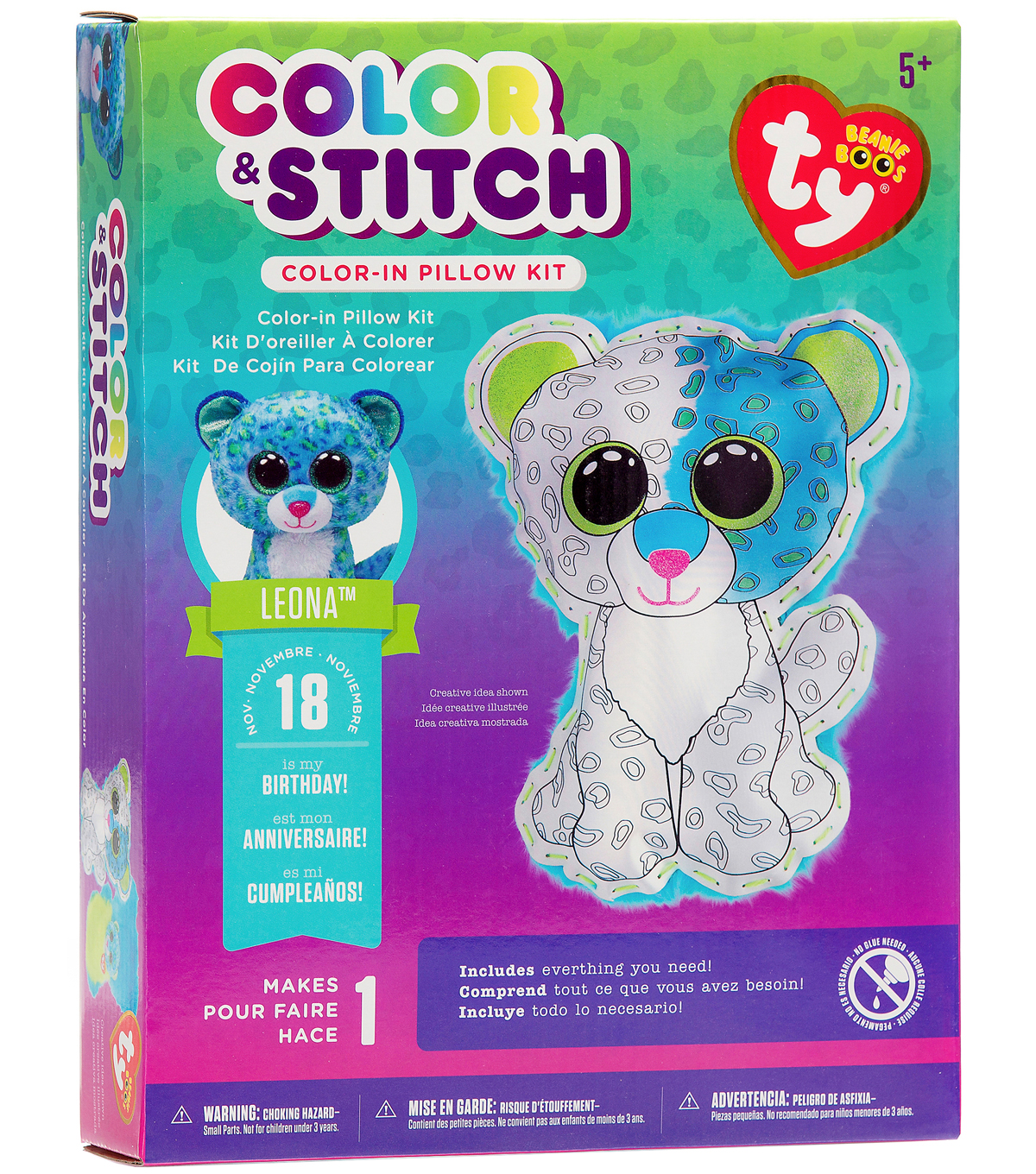 Ty Beanie Boos Color & Stitch Pillow Kit-Leona The Leopard