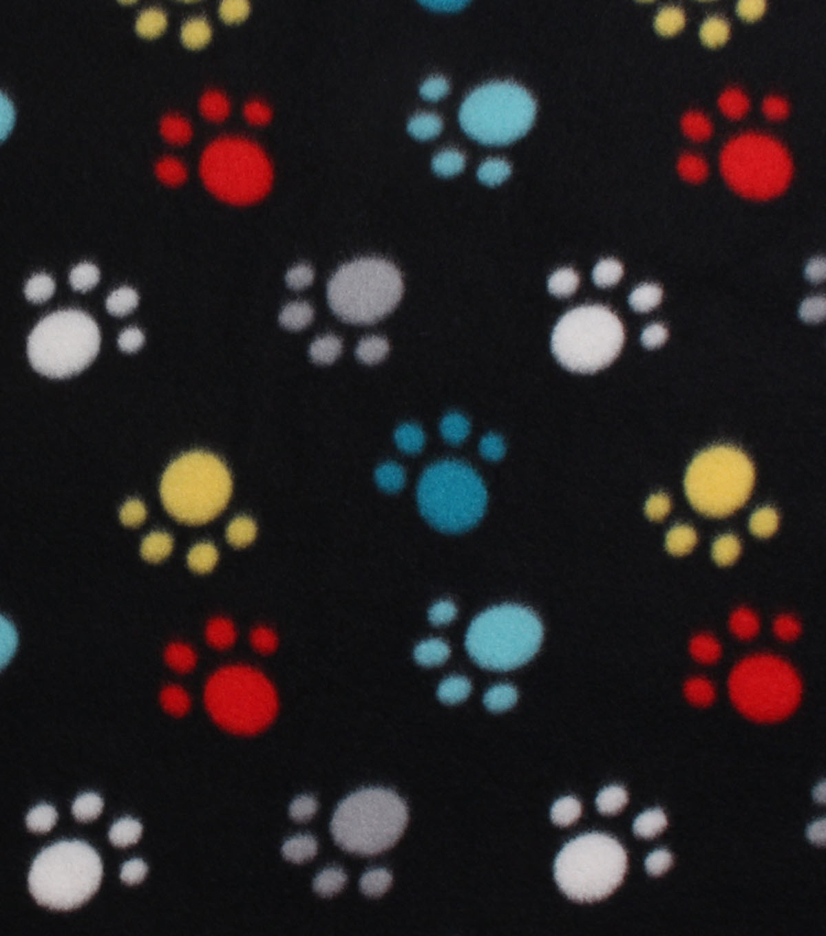 Blizzard Fleece Fabric -Colorful Paws on Black