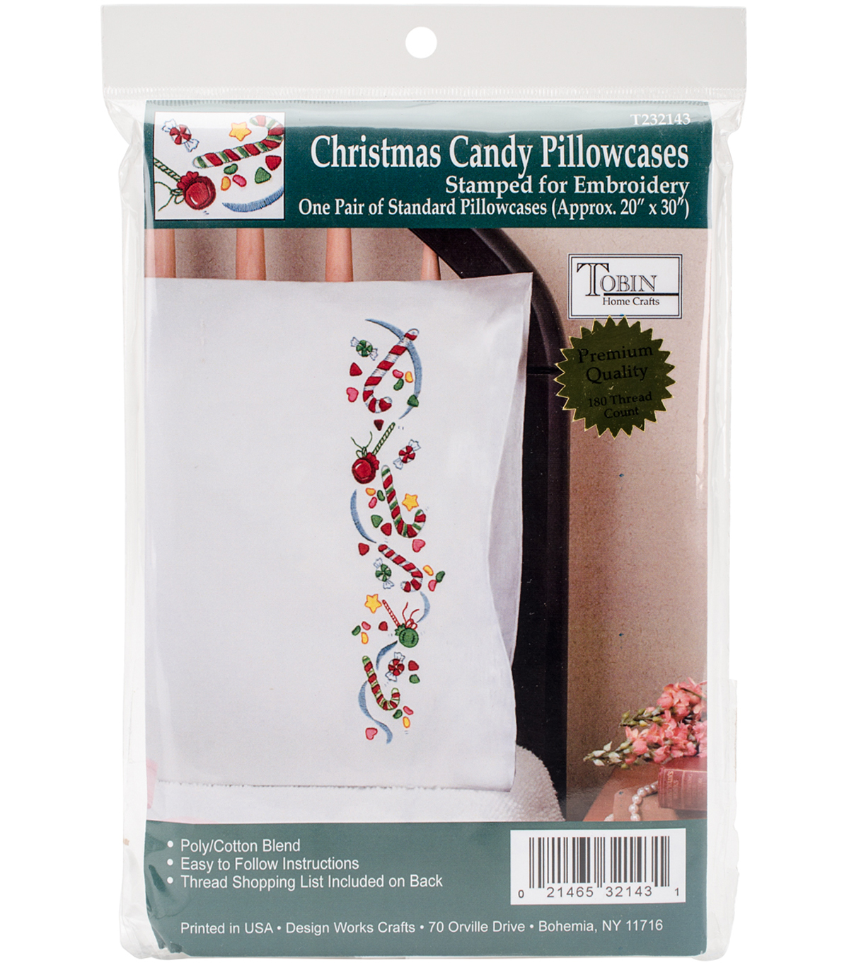 Tobin 20\u0027\u0027x30\u0027\u0027 Stamped for Embroidery Pillowcase Pair-Christmas Candy