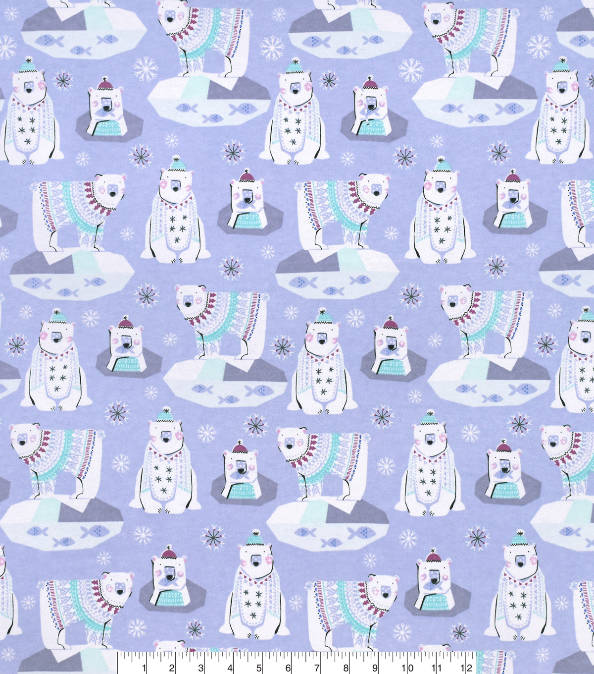 Snuggle Flannel Fabric -Patterened Polar Bear