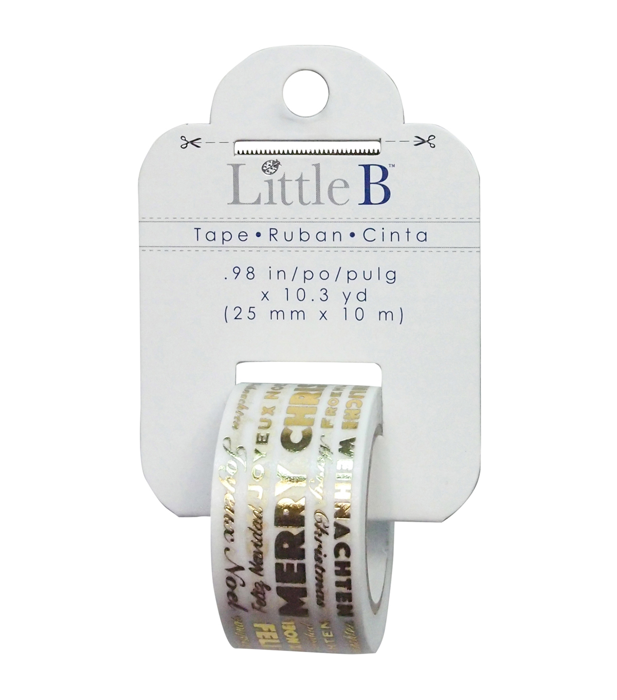 Little B Decorative Foil Tape 25mmx 10 yds-Merry Christmas Word Play