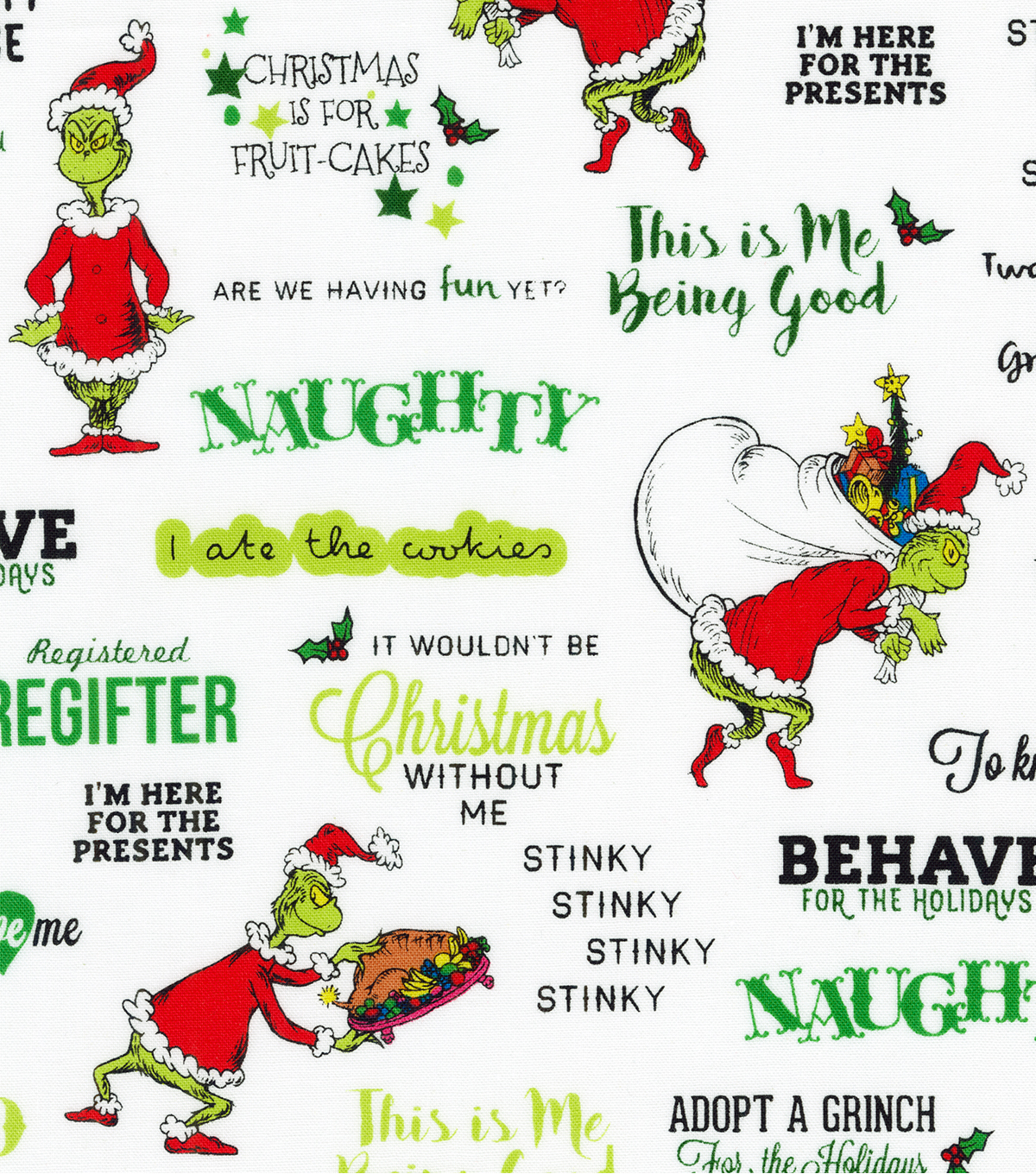 The Grinch Cotton Fabric-Stripe Words