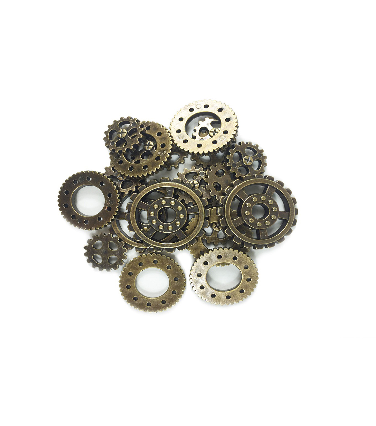 Steampunk Multi Gears Embellishments 1.25\u0022-Antique Gold