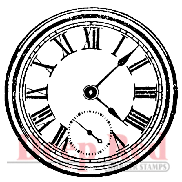 Deep Red Stamps Cling Stamp Roman Clock