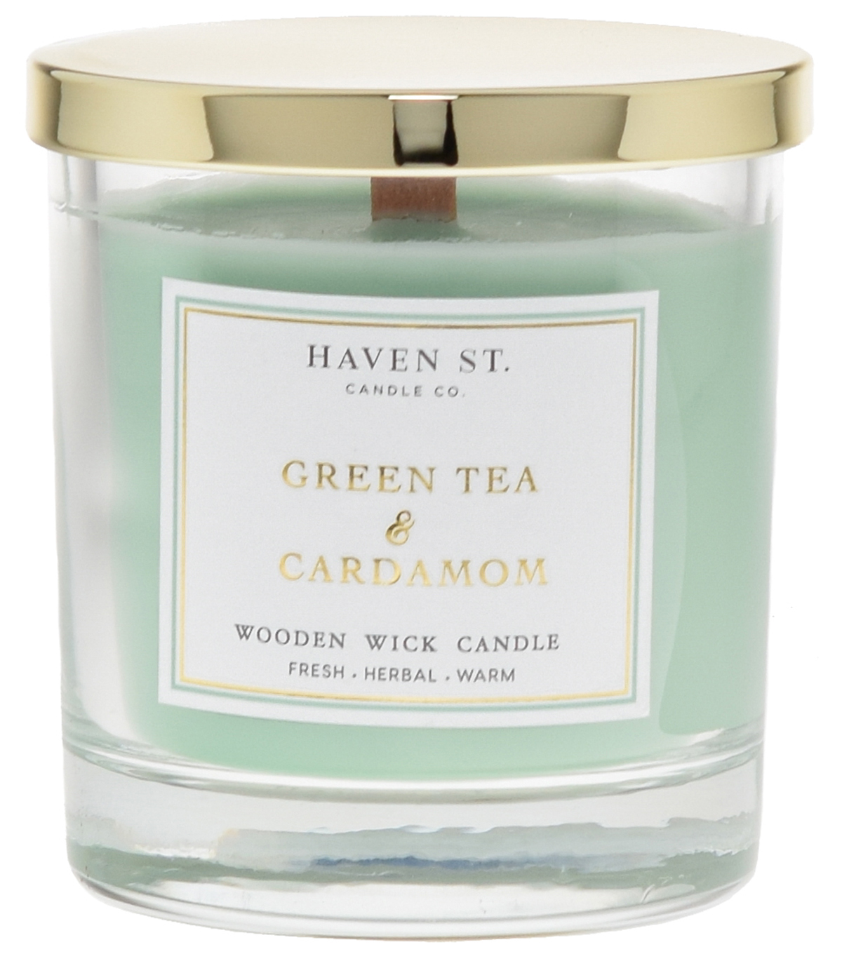 Haven St. 8oz Wooden Wick Jar Candle-Green Tea