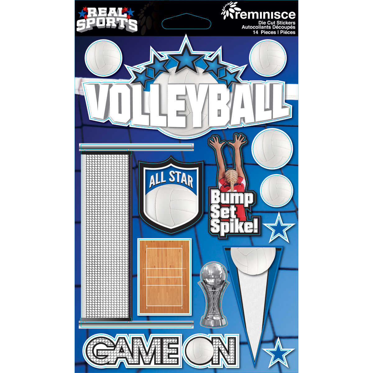 REMINISCE REAL SPORTS VOLLEYBALL DIMENSIONAL 3D SCRAPBOOK STICKERS