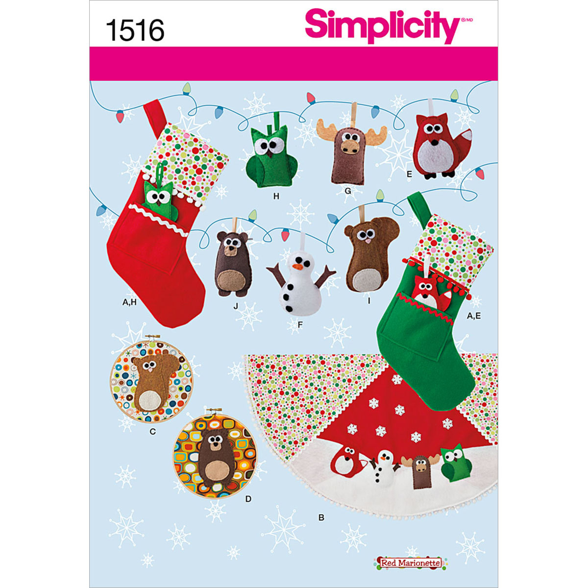 Simplicity Pattern 1516OS One Size -Crafts Holiday