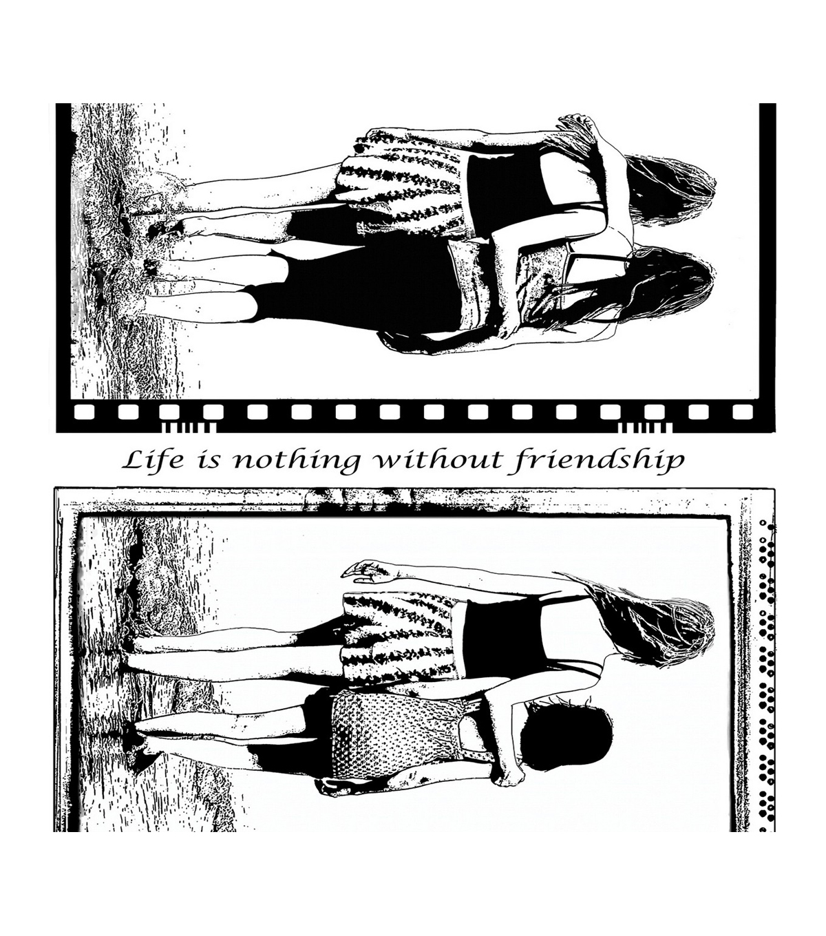 Crafty Individuals Unmounted Red Rubber Stamp-Seaside Friends