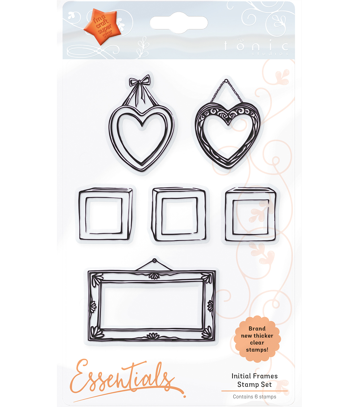 Tonic Studios Essentials 6 pk Clear Stamps-Initial Frame