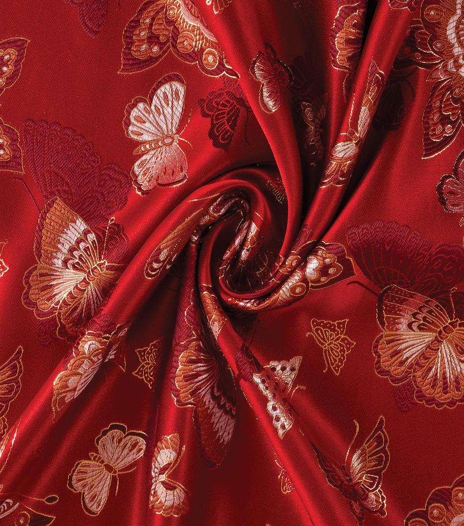 Yaya Han Cosplay Brocade Fabric 58\'\'-Red Choo Butterfly