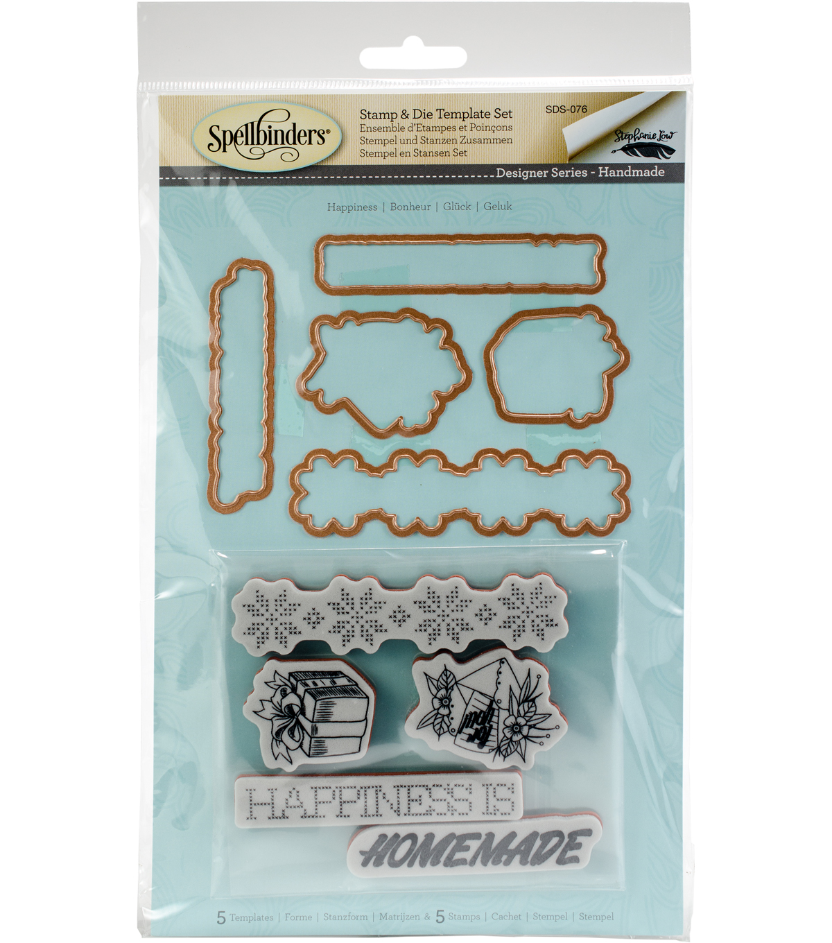 Spellbinders Handmade Stephanie Low Stamp & Die Set-Happiness