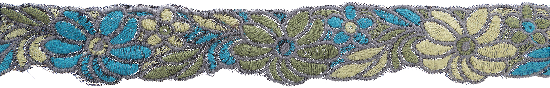 Wrights Thick Yarn Embroidered Trim 2\u0027\u0027-Blue & Green Floral