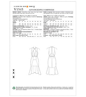 Vogue Pattern V1545 Misses\u0027 Lined Flounced Dress-Size 14-16-18-20-22