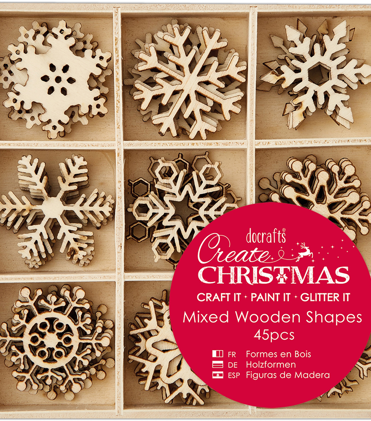 Papermania Create Christmas Wooden Shapes In Tray-Small Snowflakes