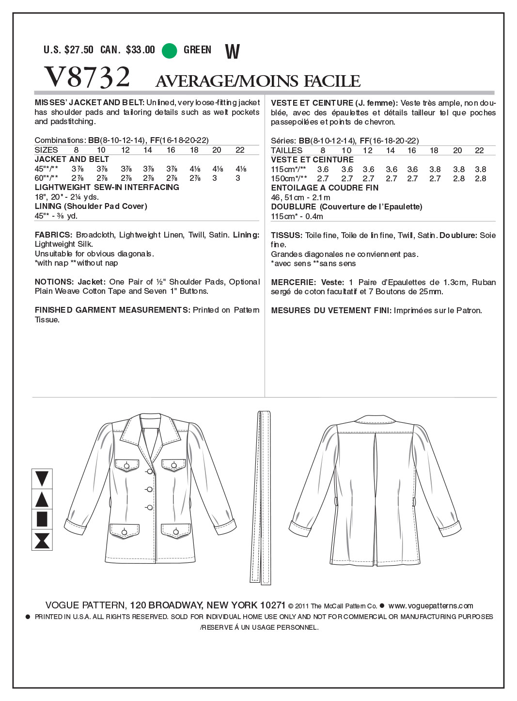 Mccall Pattern V8732 Bb (8-10-1-Vogue Pattern