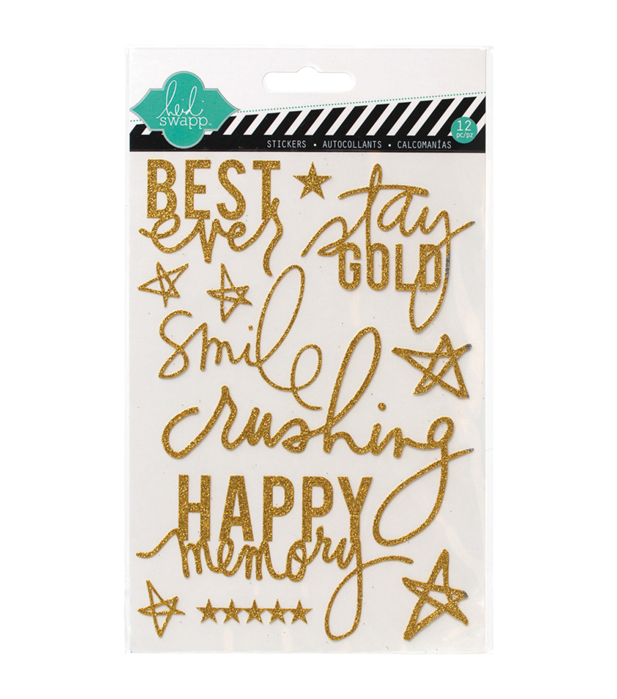 Heidi Swapp Mixed Media Glitter Stickers 5\u0022X7\u0022-Gold, Best Ever