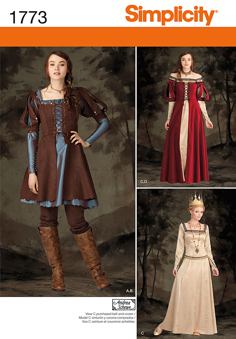 Simplicity Pattern 1773-Misses\u0027 Midieval Costumes, Sizes 14-16-18-20