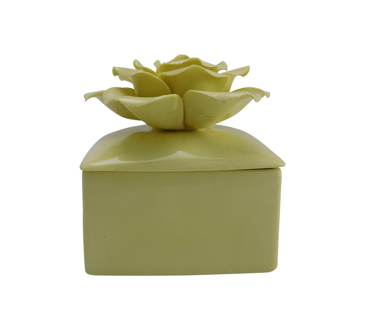 Avaria Fresh Plumeria Scented Ceramic Candle with Floral Lid-Yellow