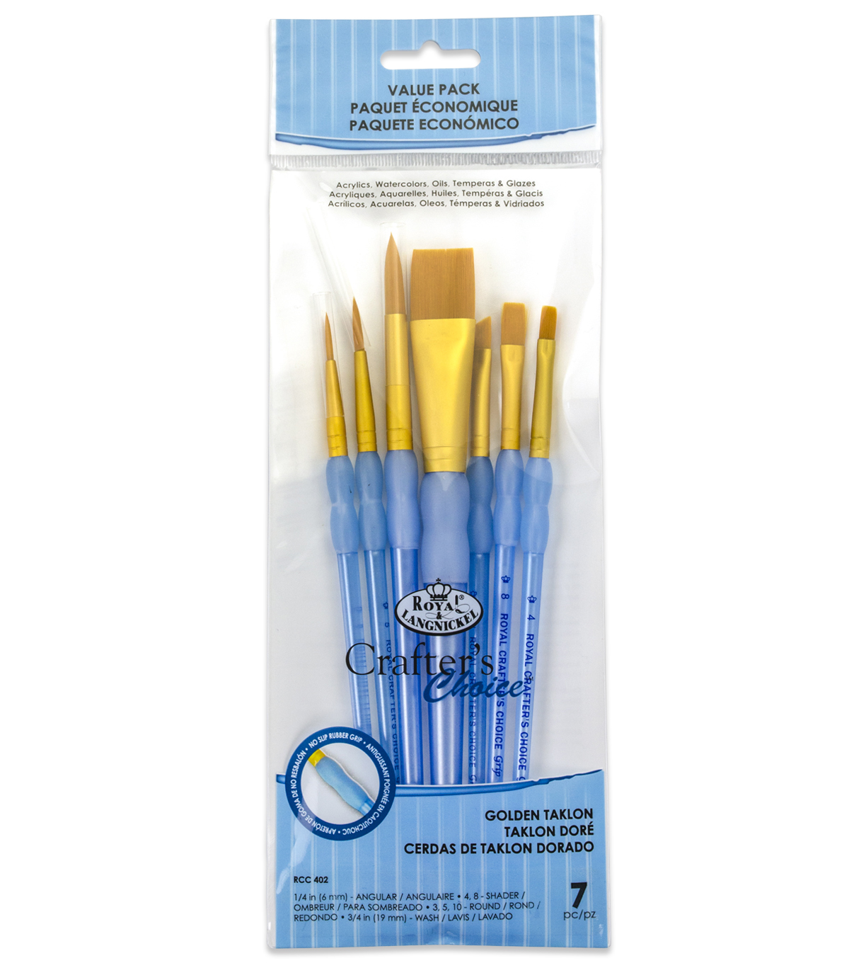 Royal & Langnickel Variety Brush Set 7pk-Golden Taklon