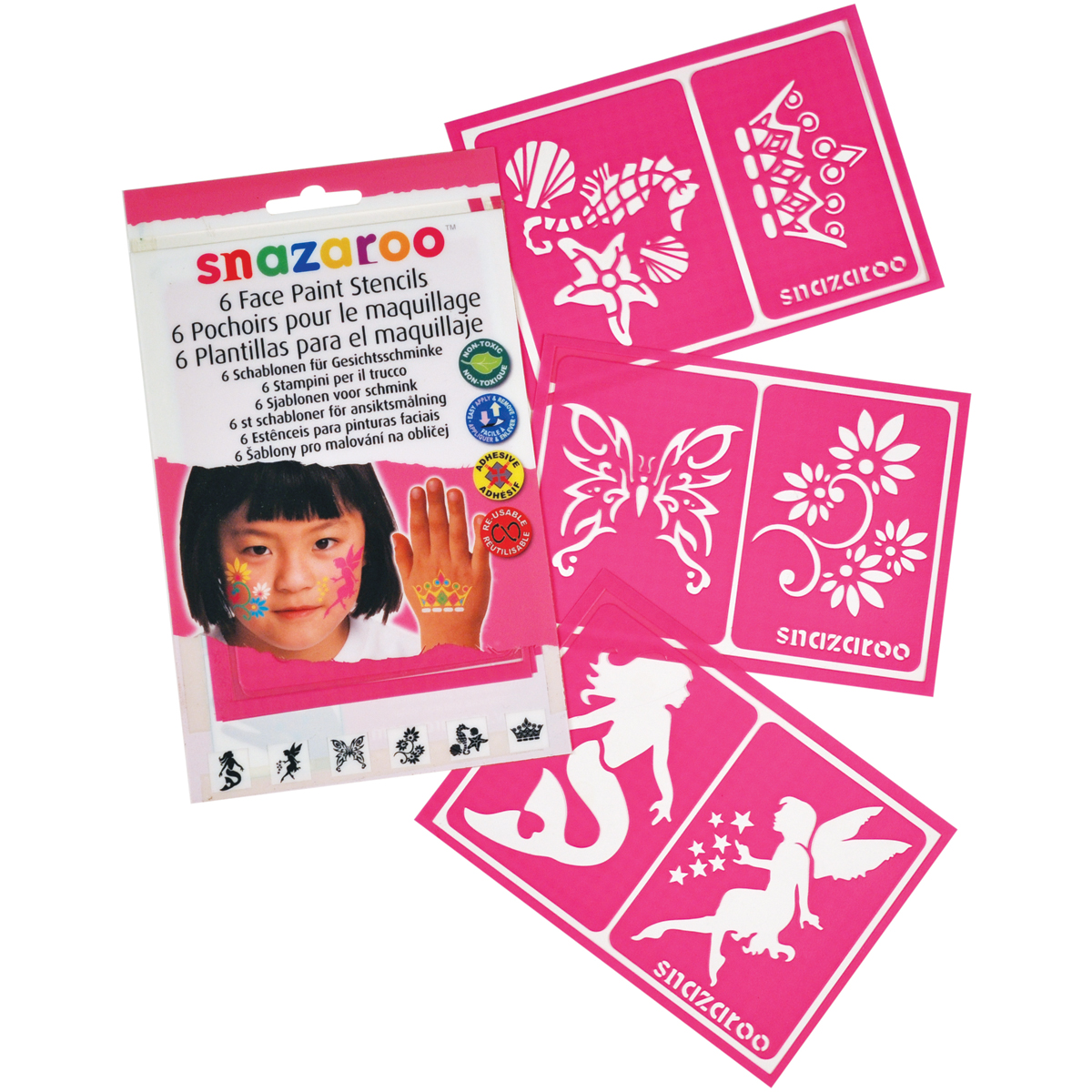 Snazaroo Face Painting Stencils 6/Pkg-Girls\u0027 Fantasy
