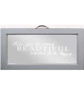 Mirror with Script 13x24\u0022-White