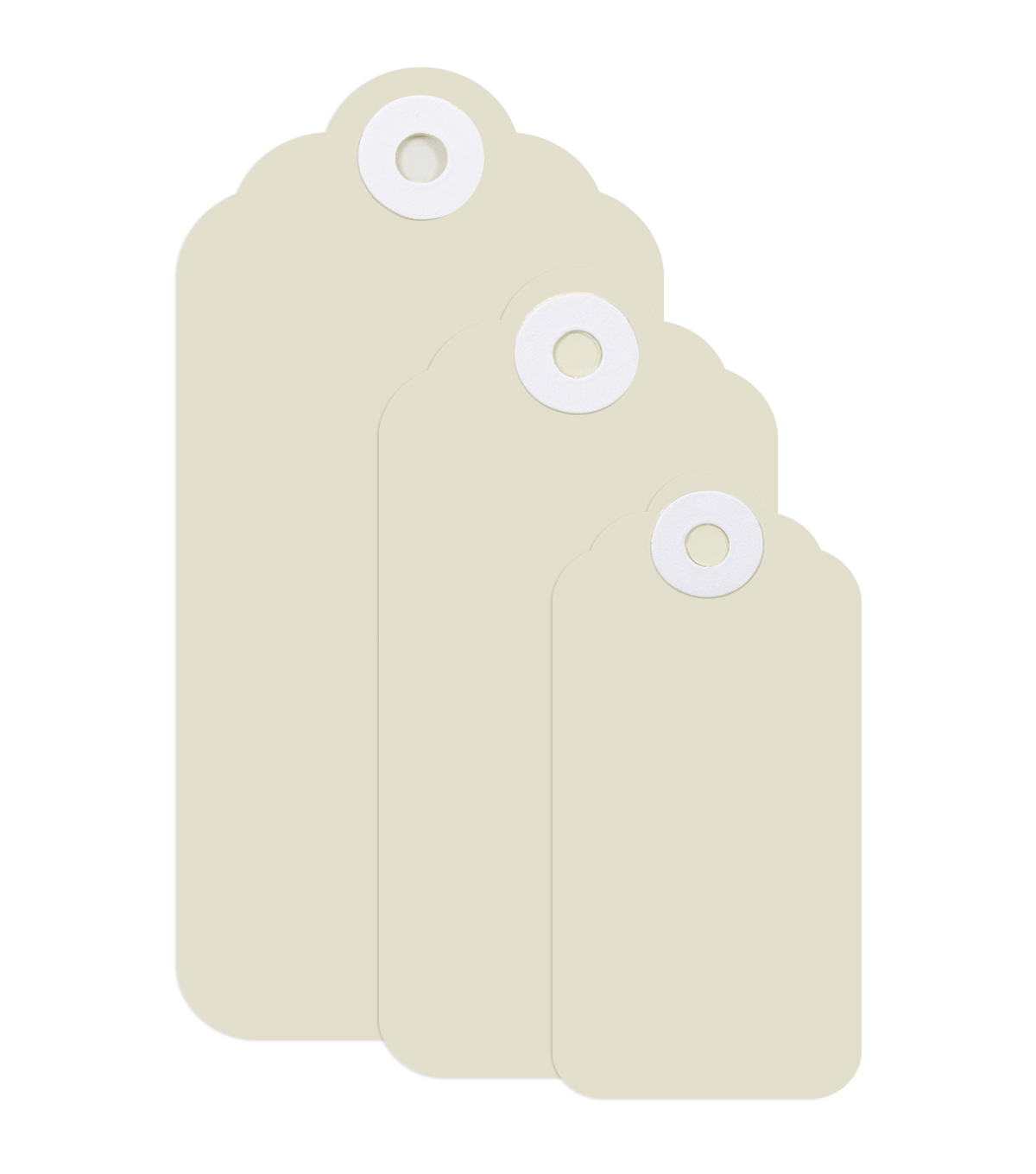 Park Lane 3 pk Scalloped Tags-Off White