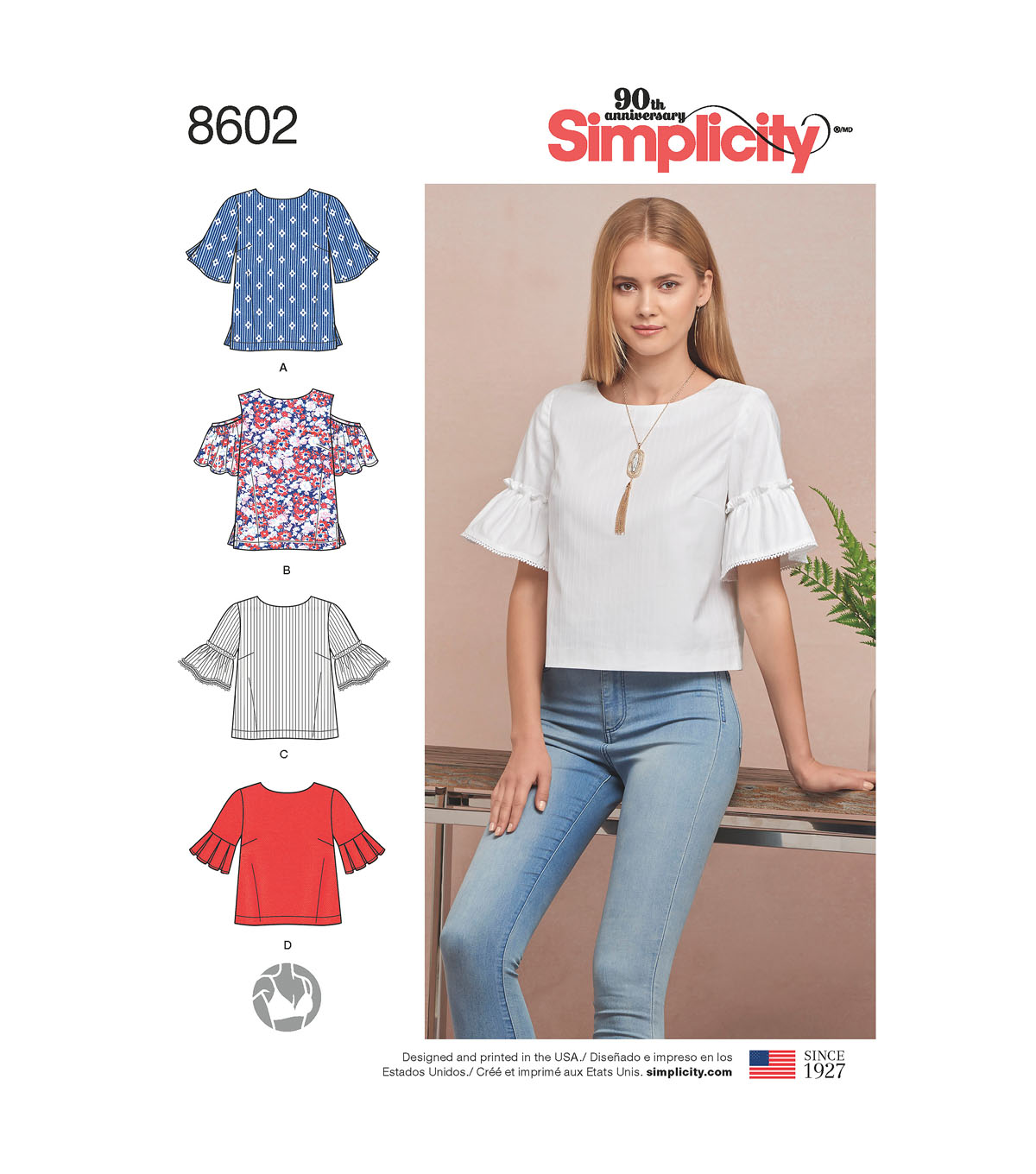 Simplicity Pattern 8602 Misses\u0027 Tops in Two Lengths-Size H5 (6-14)
