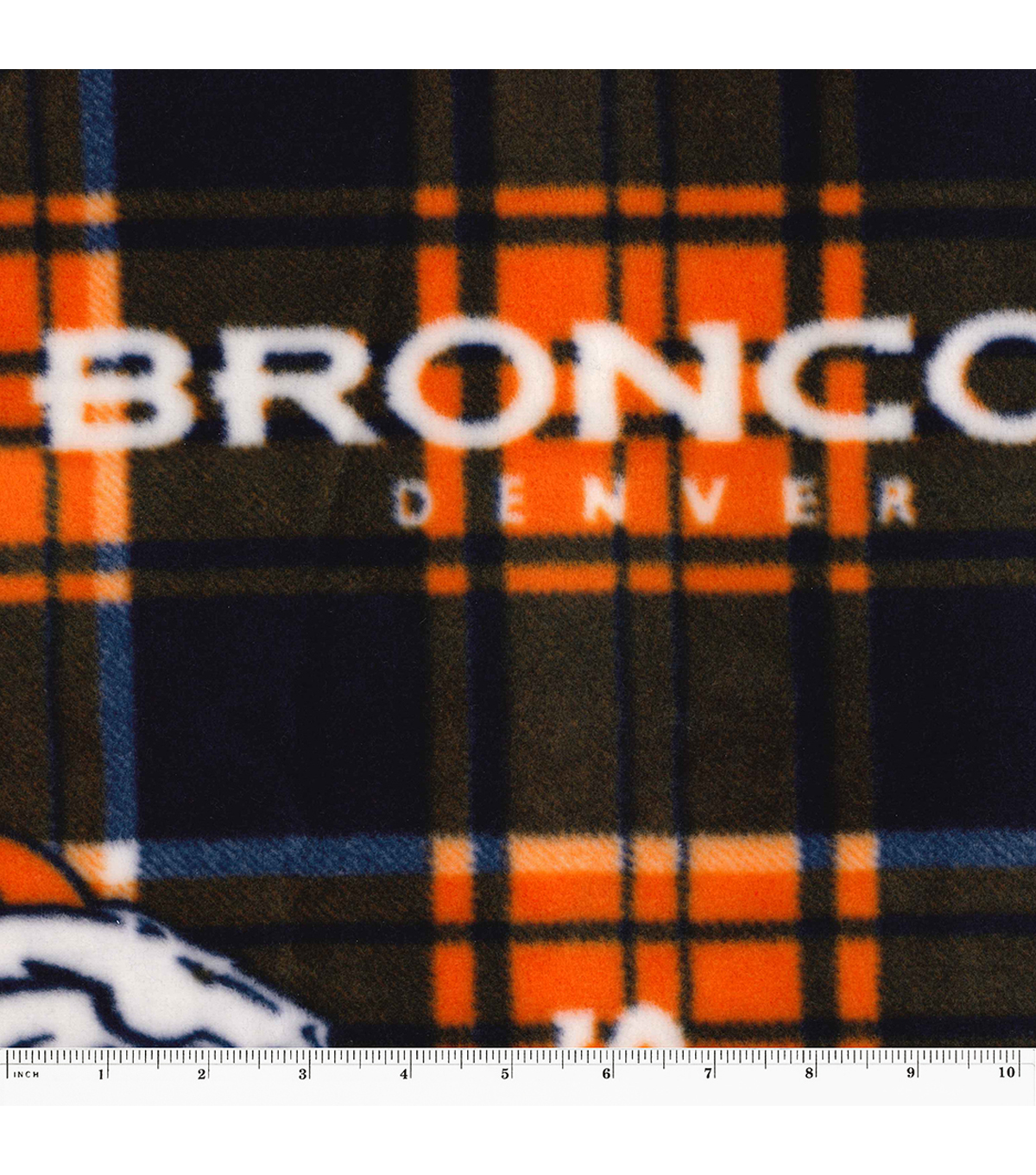 Denver Broncos Fleece Fabric 58\u0022-Plaid