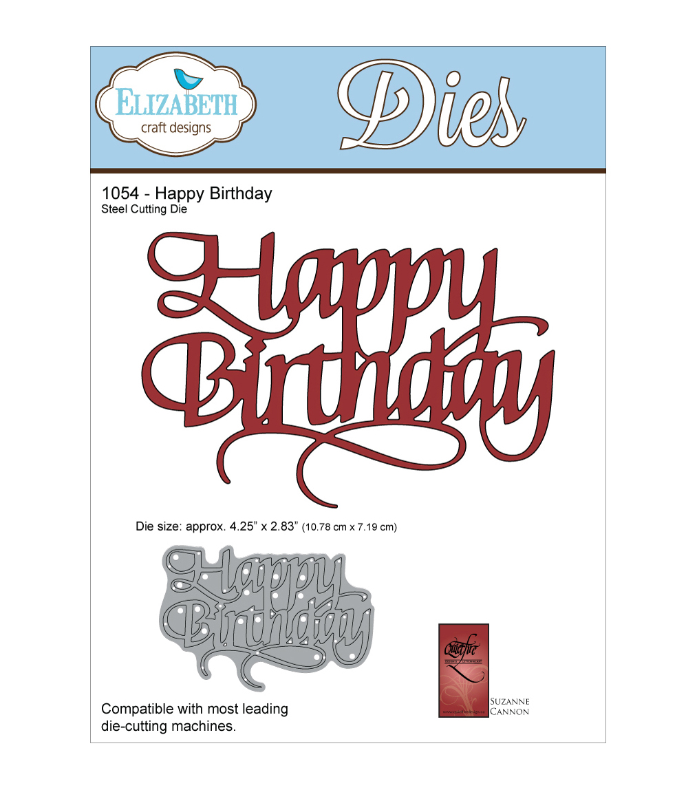 Elizabeth Craft Designs Quietfire Wafer Thin Metal Die-Happy Birthday
