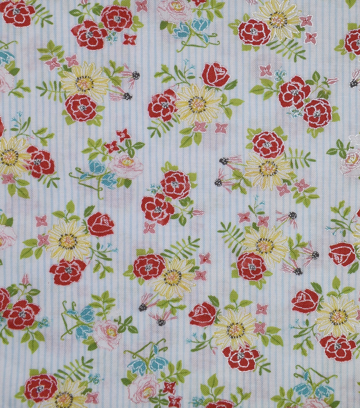 Premium Cotton Fabric-Lucy Stripes & Flowers