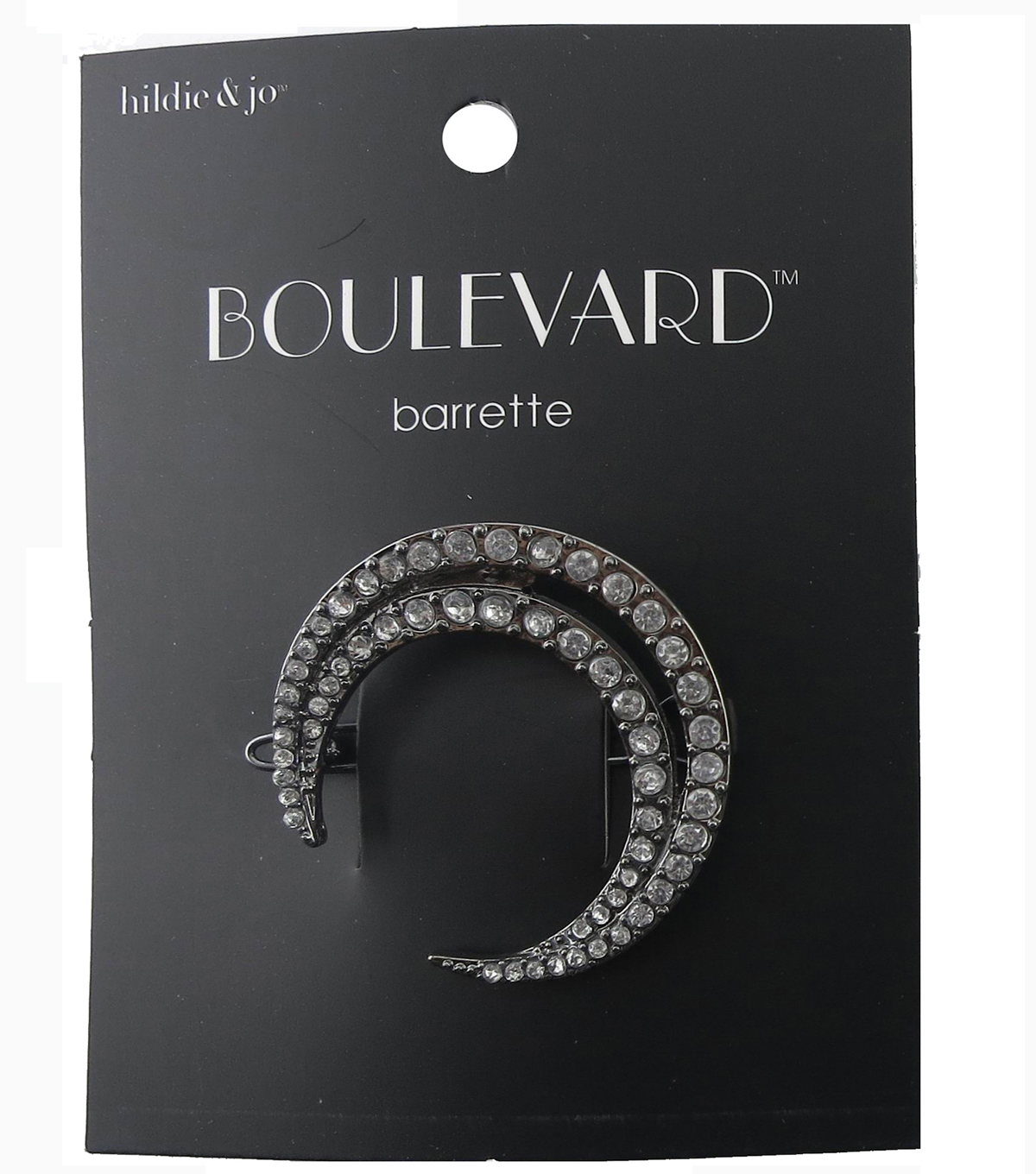 hildie & jo Boulevard Open Crescent Silver Barrette-Clear Crystal