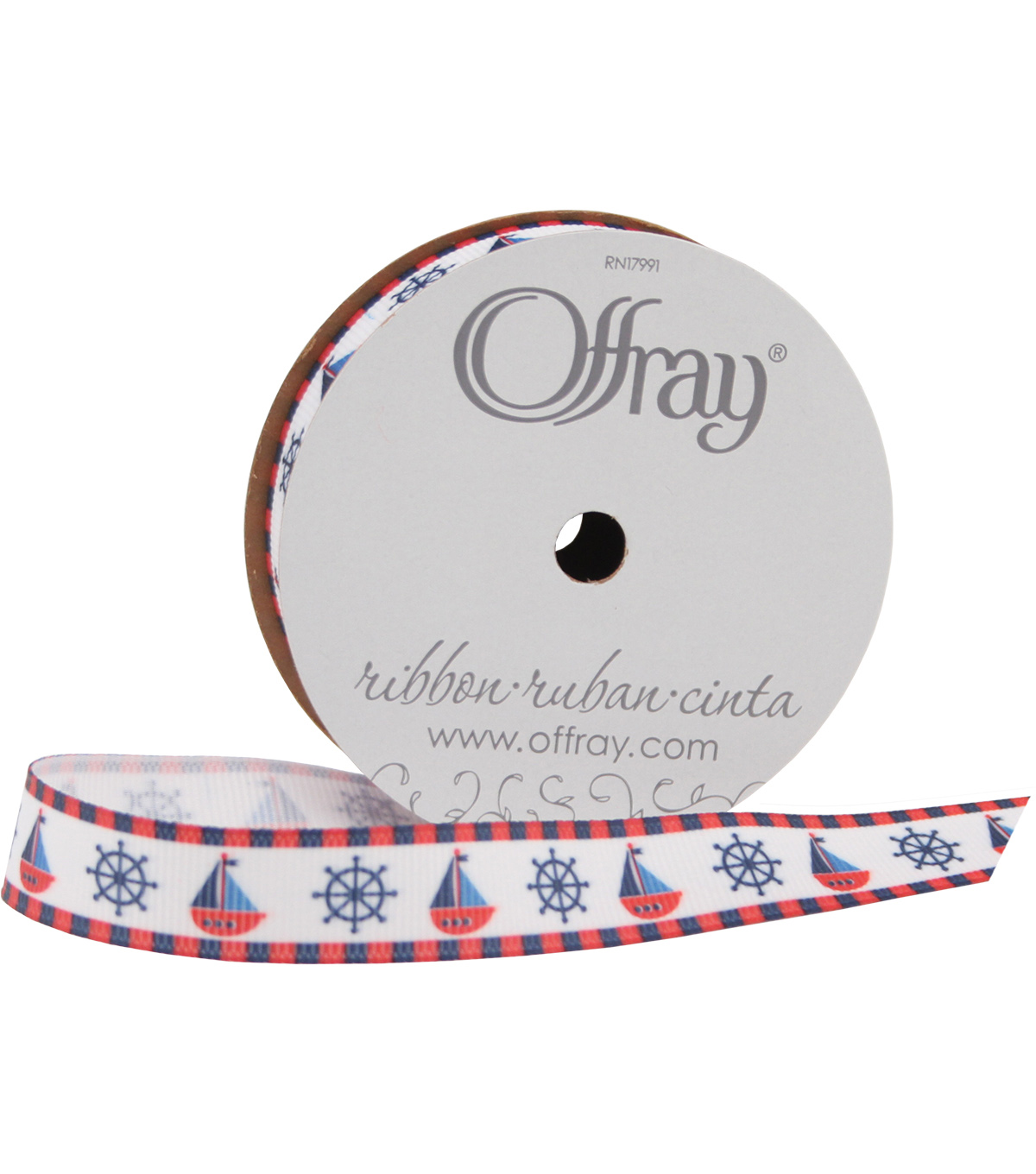 Offray 5/8\u0022x9\u0027 Baby Nautical Grosgrain Ribbon-Red, White, and Blue