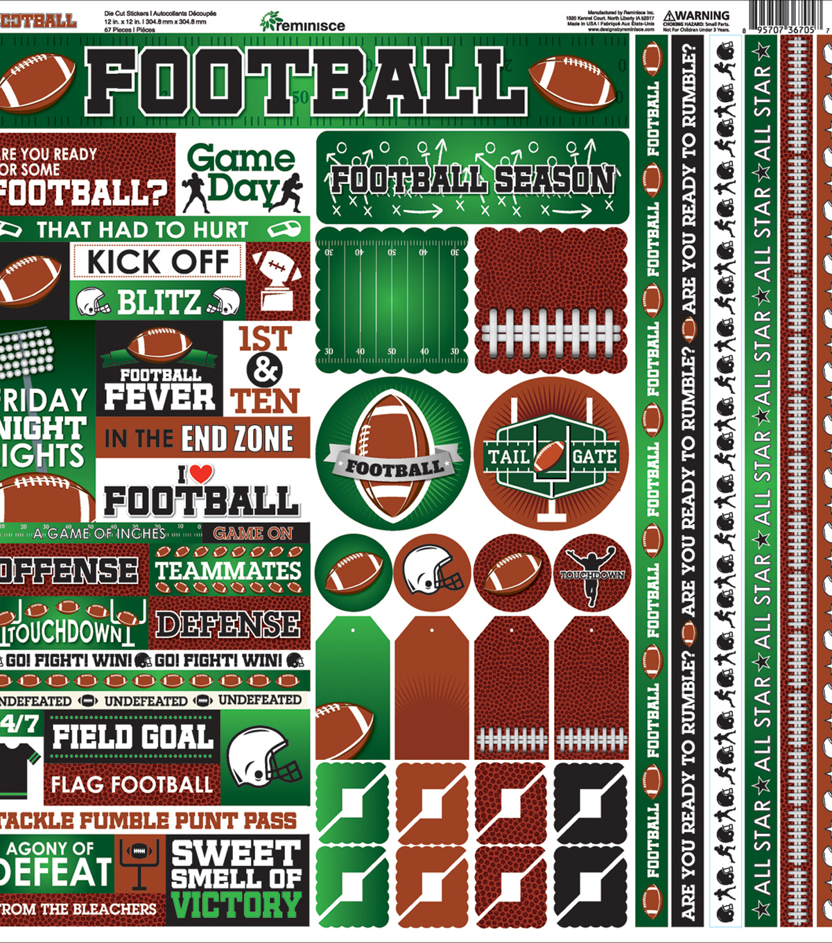 Reminisce Football 50 pk Cardstock Stickers