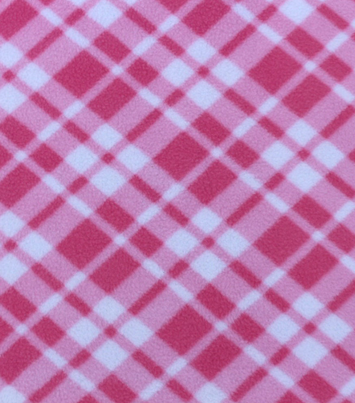 Anti-Pill Fleece Fabric 59\u0022-Pink Bias Plaid