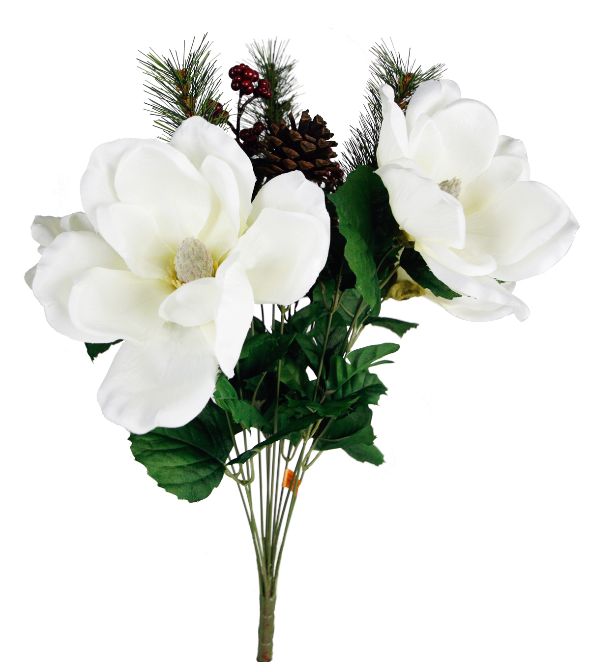 Blooming Holiday Christmas Ivory Magnolia, Pine & Berry Bush