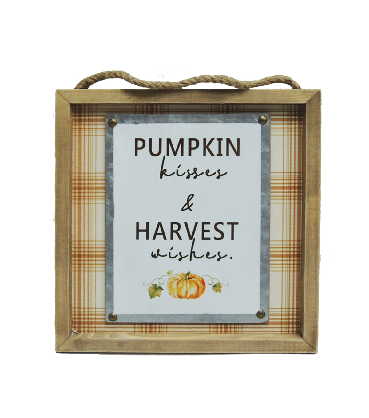 Simply Autumn Wall Decor-Orange Plaid, Pumpkin Kisses & Harvest Wishes