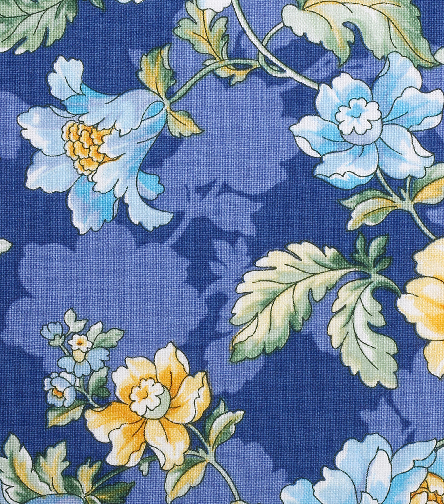 Keepsake Calico Cotton Fabric -Yellow Blue Floral