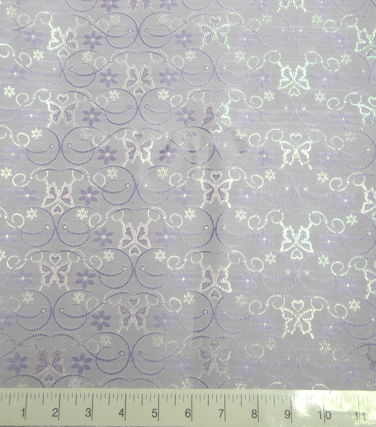 Glitterbug Brocade Fabric -Iridescent Lavender Butterfly