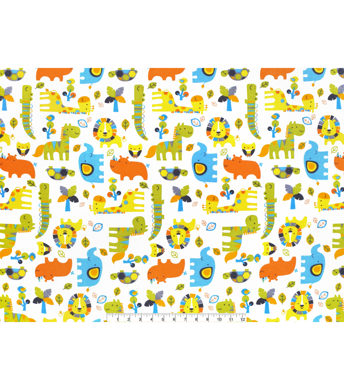 Nursery Flannel Fabric -Zoo Midtone Tossed Animals