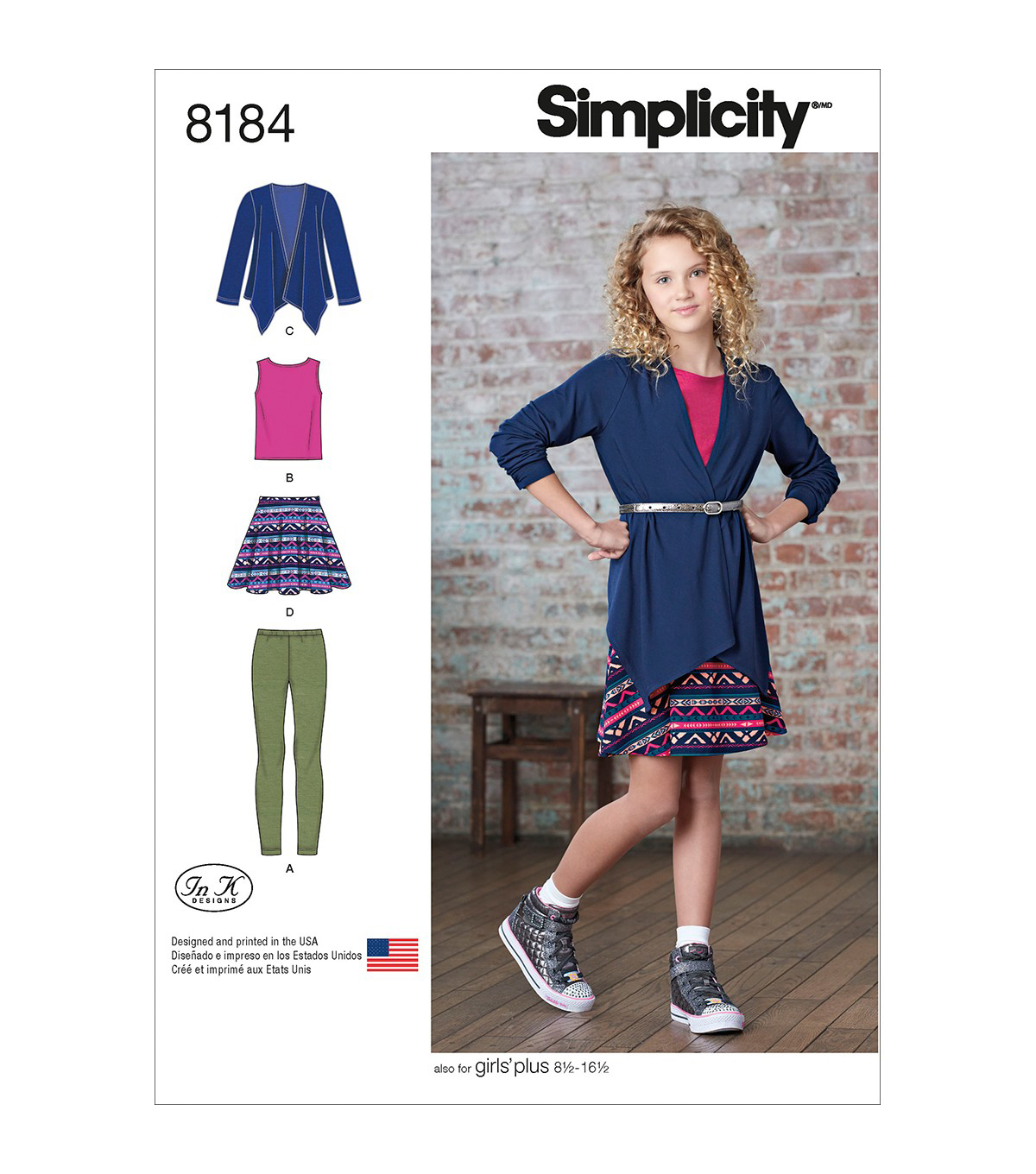 Simplicity Pattern 8184 Girls\u0027/Girls\u0027 Plus Apparel-Size AA (8-16)