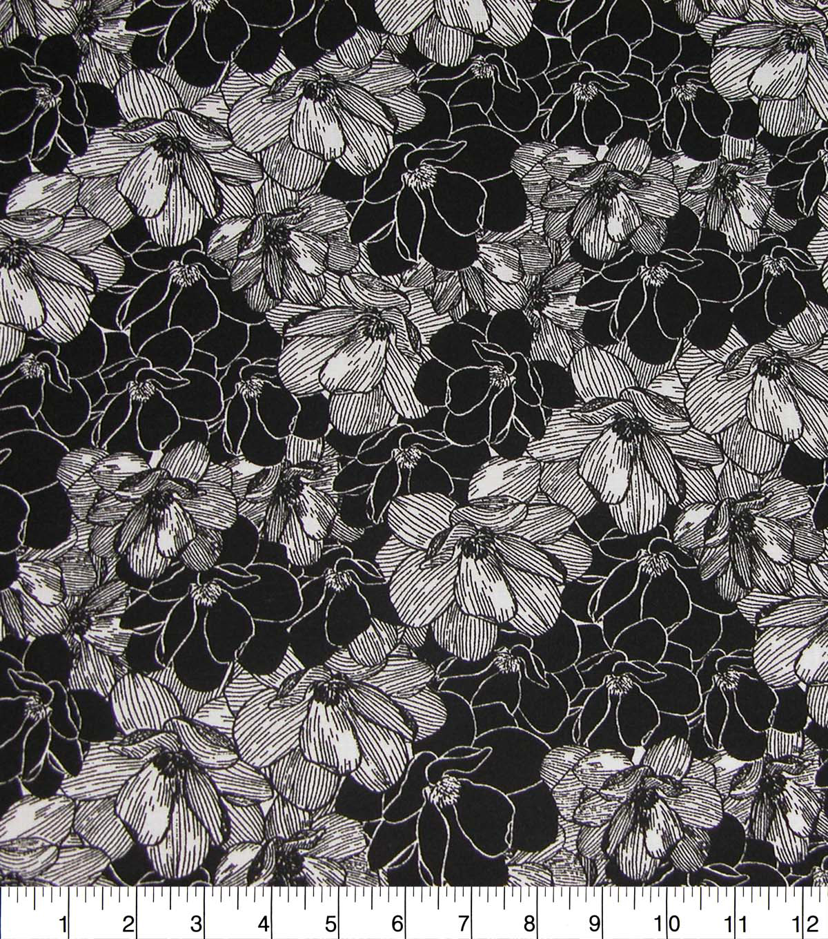 Quilter\u0027s Showcase Cotton Fabric-Black & White Floral Sketch