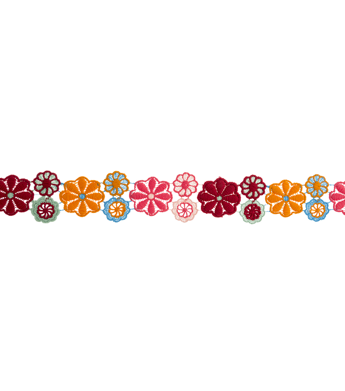 Simplicity Embroidered Floral Mesh Trim-Multi