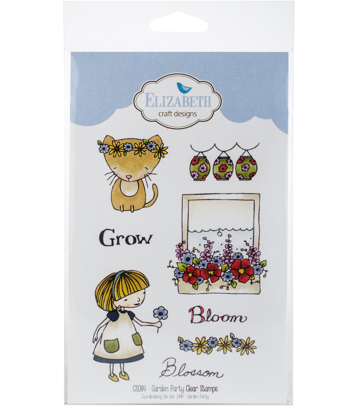 Elizabeth Craft Designs 8 pk Clear Stamps-Garden Party