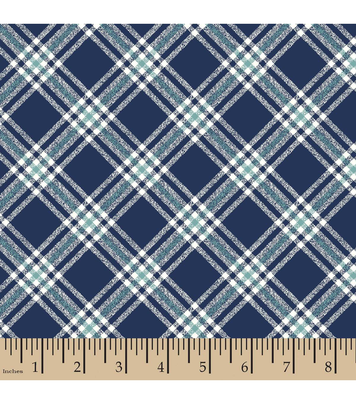 Nursery Flannel Fabric Baby Whale Plaid