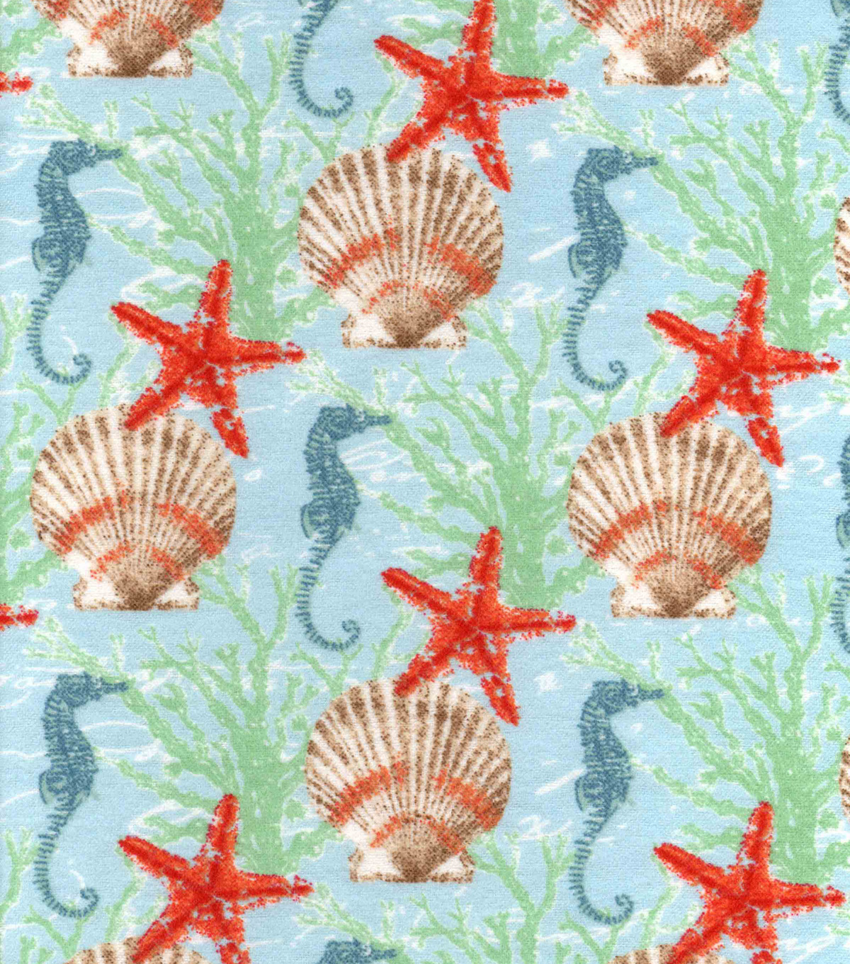 Snuggle Flannel Fabric 42\u0022-Starfish And Seashell