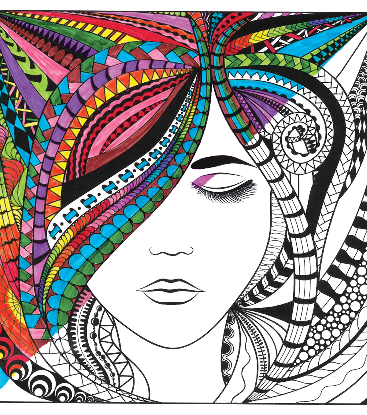 Adult Coloring Canvas 12\u0022X12\u0022 w/12 Markers-Lady